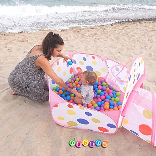 NUBUNI 3 en 1 Tienda Campaña Infantil : Piscina de Bolas + Casita Infantil + Tunel de Juego : Plegable Parque Bebe Bolas Infantil Jardín Exterior ...