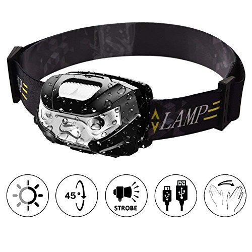 LED Headlamp USB Rechargeable Headlight with Smart Sensor IPX4 Waterproof Headband Light for Camping Fishing Hiking Bicycling Hunting