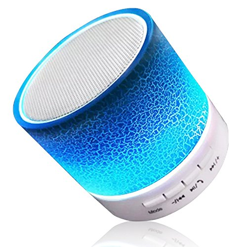 Wireless Bluetooth Speaker Color Changing Speaker Outdoors Mini Speakers with Microphone Tf Card Slot FM Radio for Ios Iphone 8 7 6 6S Plus 5S 4S Android Smartphones and Other Bluetooth Devices Blue by TopePop
