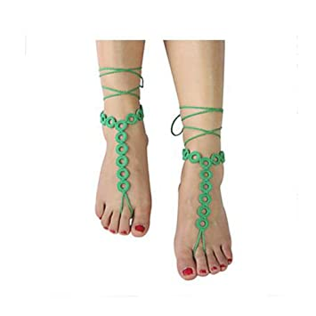 Ttshoushi Frauen Barfuß Sandalen Schmuck Fußfessel Ringform