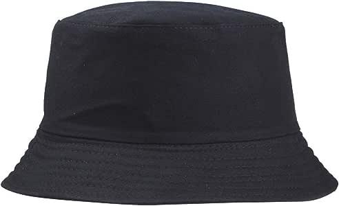 Hegerby Cotton Men Women Summer Fishing Hat Solid Color Fisherman Beach Festival Sun Cap Bucket Cap black
