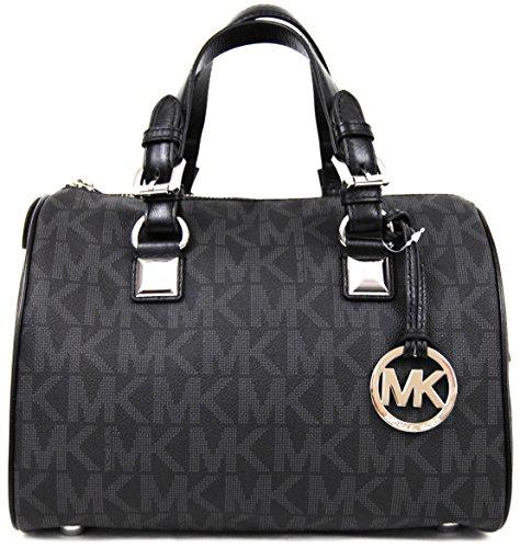 Michael Kors Signature Grayson Black PVC Medium Satchel - Mk Friday Black