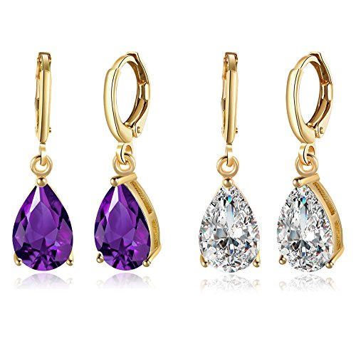 14K Gold Plated Teardrop Cubic Zirconia Dangle Earrings For Womens Girls Best Gift (2 Pcs)
