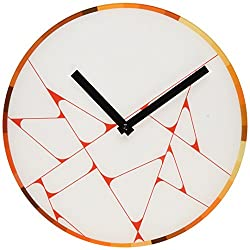 Refelx Non-Ticking Silent Acrylic Wall Clock, Large, Abstract Color Wheel, Warm/Red