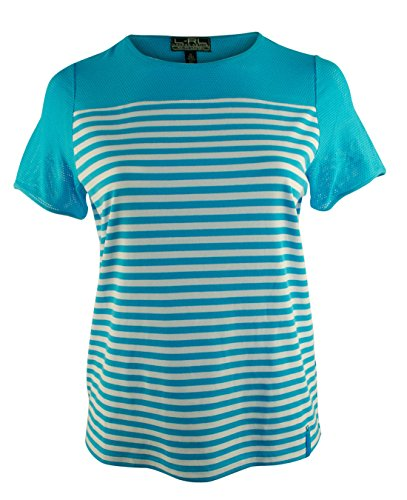 Lauren Ralph Lauren Plus Striped Mesh Yoke Top (Size 2X)  Turquoise/White