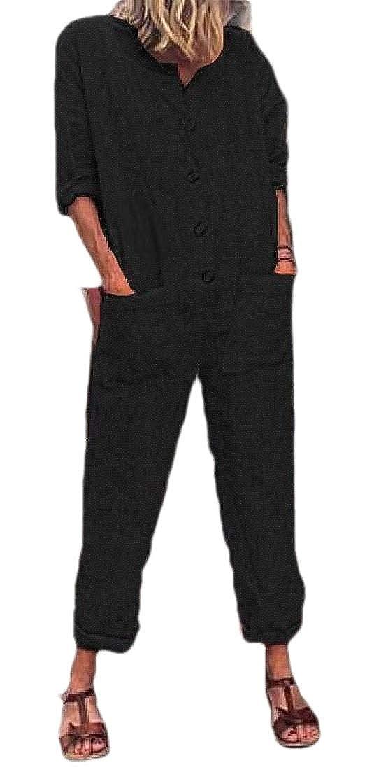 mydeshop Women Fashion Button Down Long Sleeve Wide Leg Casual Romper Jumpsuits