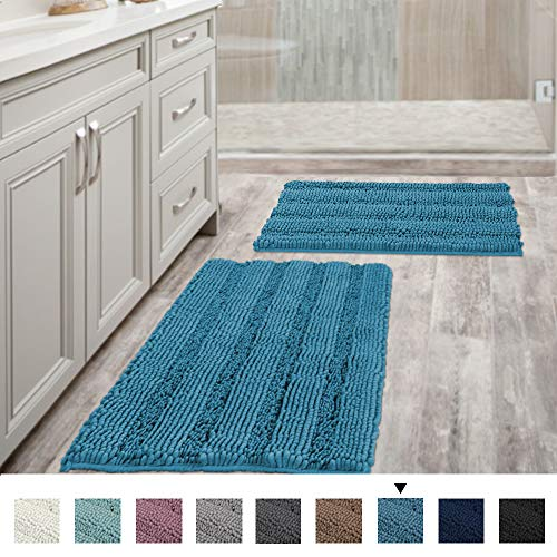 Bathroom Rugs Slip-Resistant Extra Absorbent Soft and Fluffy Thick Striped Bath Mat Non Slip Microfiber Shag Floor Mat Dry Fast Waterproof Bath Mat (Set of 2-20″ x 32″/17″ x 24″)