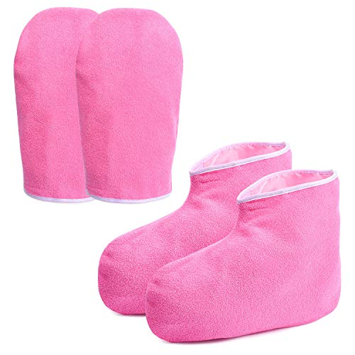 Paraffin Wax Bath Gloves & Booties, Moisturizing Work Gloves, Foot Spa Cover, Hand Treatment Kit, Paraffin Wax Warmer Insulated Mitts For Wome - Rose Red