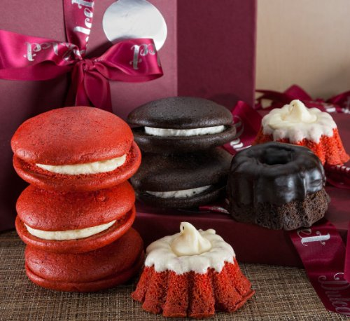 Chocolate Mini Bundt and Red Velvet Whoopie Pie with Butter Cream and Chocolate Icing Bakery Gift Box by Dulcet Gift Baskets