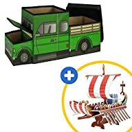 3-in-1 Pickup Truck Toy, Storage Box and Chair With Kids 3D Puzzle of Adventure Ship