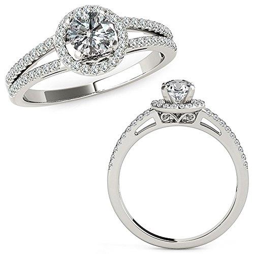 1.07 Carat G-H Diamond Lovely Designer Beautiful Halo Anniversary Promise Women Band Ring 14K White Gold ()