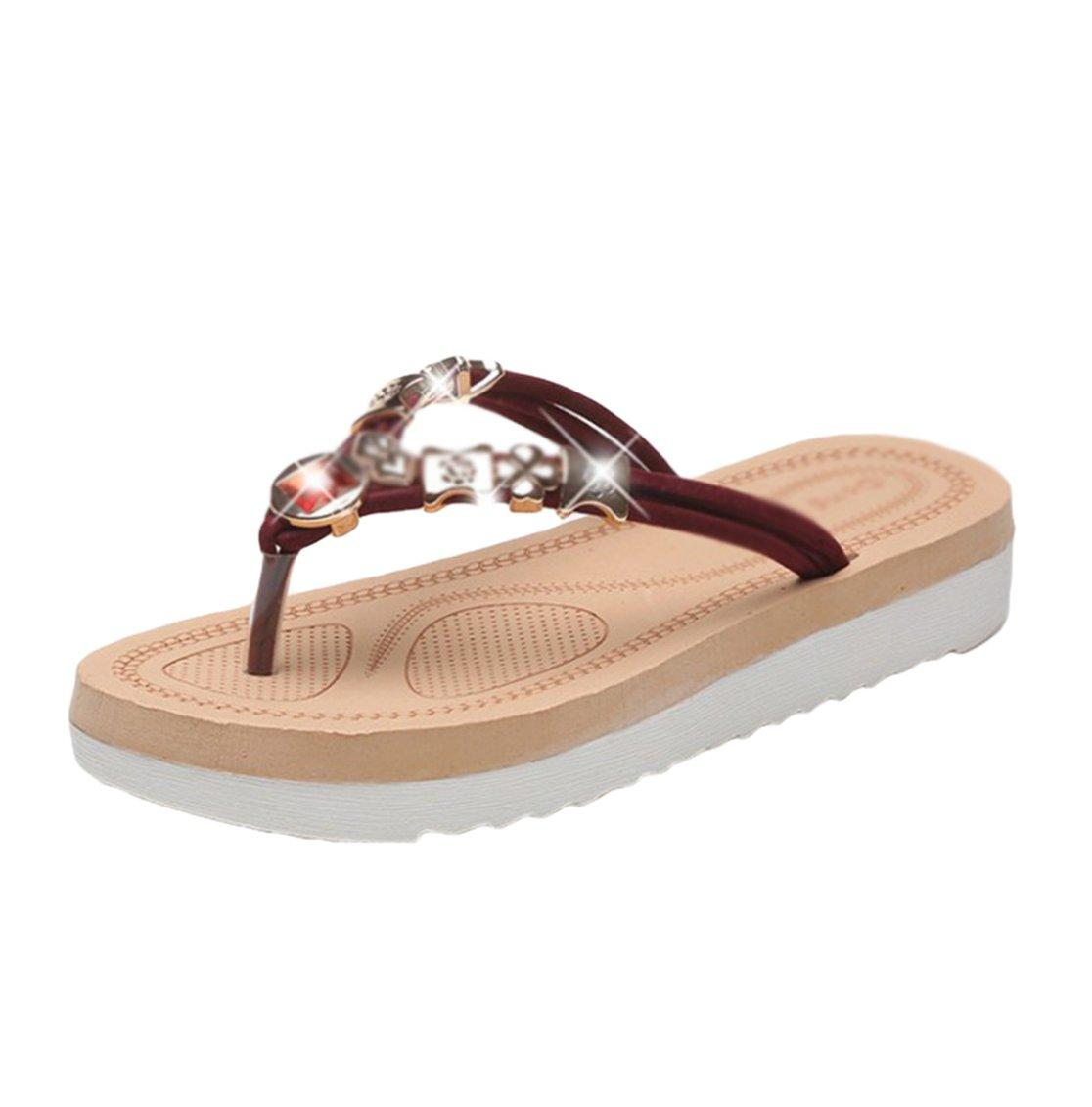 Sentao Frauen Sommer Bouml;hmen Rhinestone flip flop Sandalen Clip Toe Rouml;mische Strand Hausschuhe  Asia35 (L?nge:22.5cm)|Weinrot