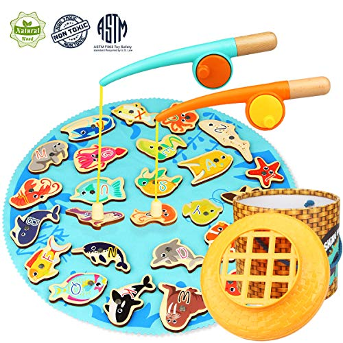 Aitey Fishing Game Toddler Toys Wooden Fishing Pole Set for 2 3 4 5 Year Old and Up Boy Girl Gifts