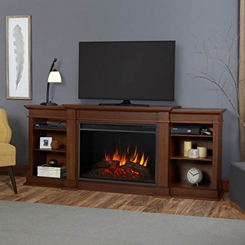 Real Flame 1290E-VBM 1290E Eliot Grand Entertainment Unit with Electric Fireplace, Vintage Black Maple, Large