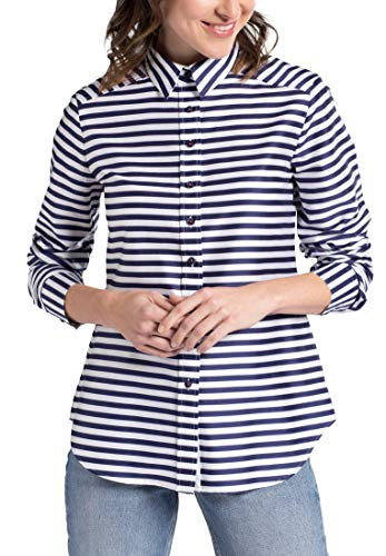 Classic Sleeve blanco Eterna Modern Marino Azul Striped Long Blouse qI4w5pP