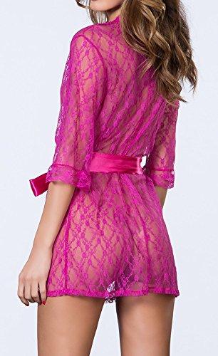 Paplan Mujer Comfort encaje transparente ropa de noche albornoces Rosado