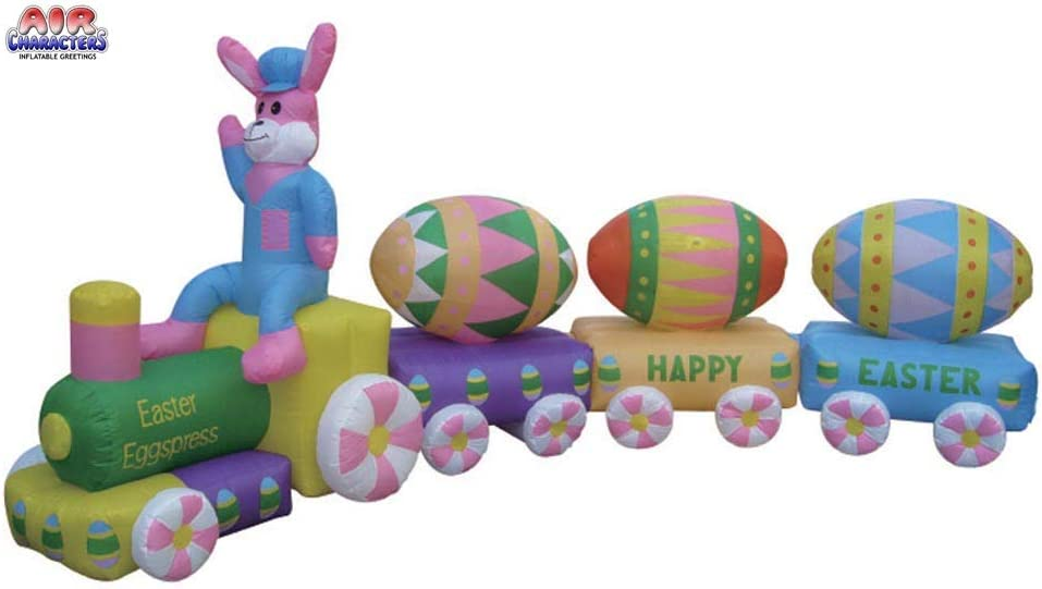 13/' Easter Bunny EGG Train Lighted AIR Blown Inflatable Yard Deocr