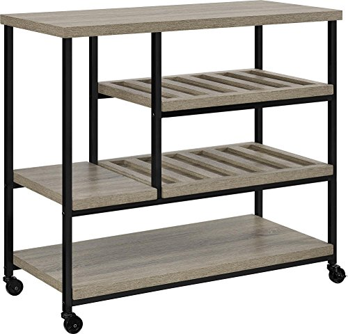 Ameriwood Home Elmwood Multi-Purpose Rolling Cart, Weathered - Stores Oaks Rolling