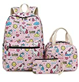 Bookbag Girls School Backpack Cute Schoolbag with Insulated Lunch bag for Teens Boys Kids Travel Daypack (Pink T024)