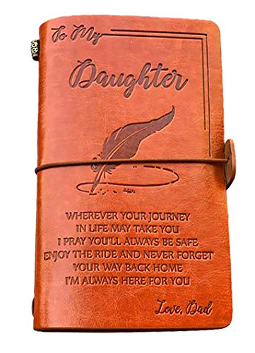 To Daughter Gift-Enjoy the Ride Writing Journal Drawing Sketch Book Travel Diary PU Leather Cover Refillable Notebook-Birthday Graduation Back to School Gift for Teen Girl Women (From Dad to Daughter)