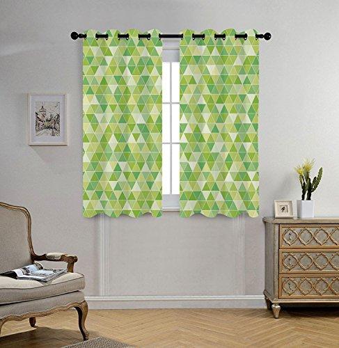 Stylish Window Curtains,Lime Green,Triangles Geometry Figure