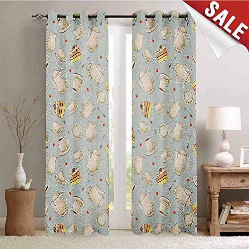 Tea Party, Window Curtain Drape, Coffee Pot Teapot Spoons Plates and Creamy Slices of Cake with Cherries, Customized Curtains, W108 x L96 Inch Bluegrey Red Green ()