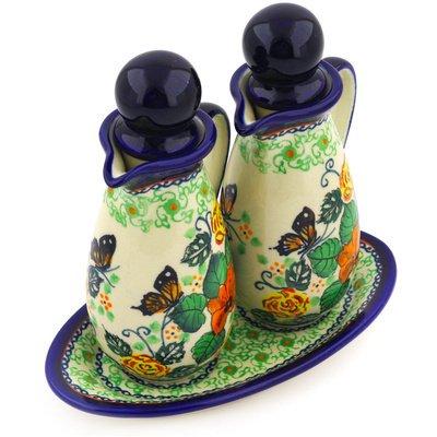 Polish Pottery Seasoning Set 7-inch Butterfly Meadow UNIKAT by Polmedia Polish Pottery (Image #2)