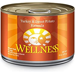 Wellness Complete Health Natural Wet Canned Dog Food, Turkey & Sweet Potato, 6-Ounce Can (Pack of 24)