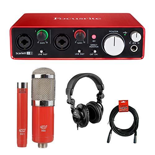 Focusrite Scarlett 2i2 USB Audio Interface (2nd Gen) with MXL 550/551 Microphone, Polsen HPC-A30 Headphones & XLR Cable Bundle