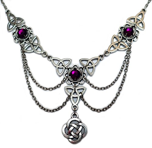 [Celtic Triquetra Trinity Knot Silver Draping Chain Necklace Purple] (Medieval Bride Costume)