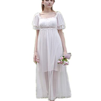 770dcdc80b Womens  Summer Lace Vintage Nightgown Victorian Princess Nightdress  Chemises Babydoll Pajamas Lounger Sleepwear (White