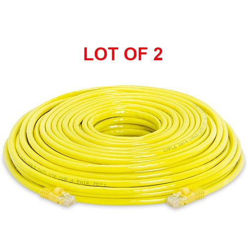 100 Feet - Pack of 2 Cmple Cat5e 350 MHz Snagless Patch Cable Yellow