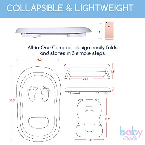 Baby Brielle 3-in-1 Portable Collapsible Infant to Toddler Space Saver Foldable Bath tubs - Anti Slip Skid Proof - with Cushion Insert & Water Rinser for Bathing Newborns by Baby Brielle (Image #9)
