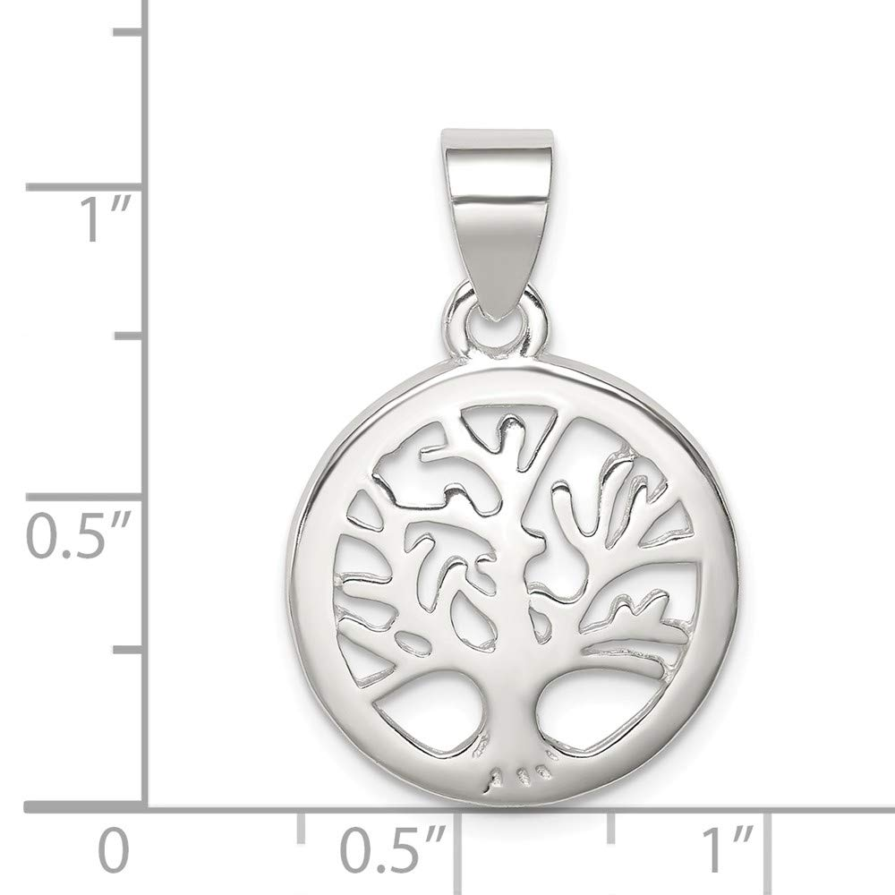 925 Sterling Silver Polished Round Tree Shaped Pendant