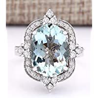 wanmanee Women Fashion 925 Silver Aquamarine & White Topaz Ring Wedding Jewelry Size 6-10 (7)