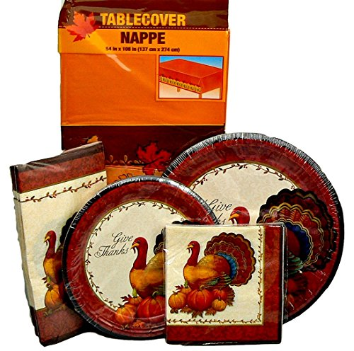 Thanksgiving Turkey Give Thanks Party Supplies for 12 People: Appetizer /Dessert Plates, Dinner Plates, Beverage Napkins, Dinner Napkins and Happy Thanksgiving Table Cover - 5 Piece Bundle (Piece 5 Pilgrim)