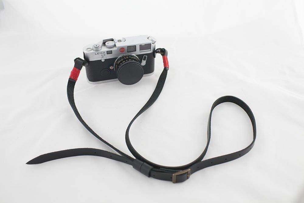 Handmade Genuine Leather camera strap neck strap for film camera EVIL camera black color red stitch