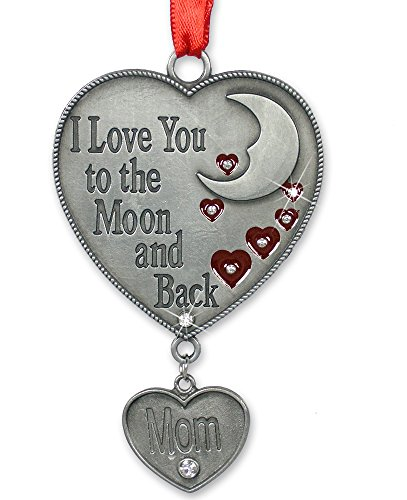 (BANBERRY DESIGNS Mom Ornament - I Love You to The Moon and Back Ornament for Mom - Red Hearts and Moon Design with a Hanging Charm Engraved Mom)