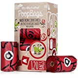 My AlphaPet Compostable Dog Poop Bags - Cornstarch Earth Friendly - Highest ASTM D6400 Rated - 120 Count 8 Rose scented Refill Rolls - Large Size 9 x 13 Inches - Leak Proof Doggie Waste Bags