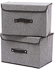 HOKEMP Extra Large Foldable Storage Cubes Bin Box Containers with Lid Gray for Home, Office, Nursery, Closet, Bedroom, Living Room
