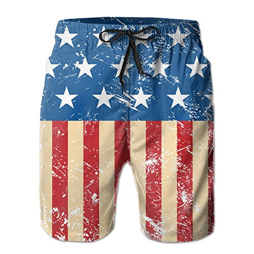 Men USA Retro Flag Summer Breathable Quick Dry Swim Trunks Beach Shorts Board Shorts