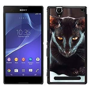 LECELL--Funda protectora / Cubierta / Piel For Sony Xperia T2 Ultra -- Oriental Habana gato negro Ojos amarillos --