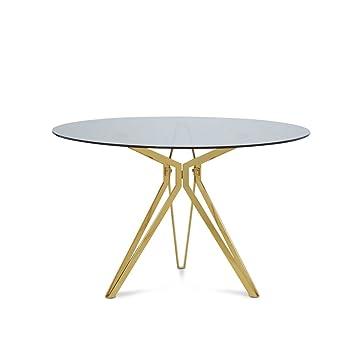 Tisch Rund Metallgestell.Homy Esstisch Glas Metall Rund Rauchglasplatte Metallgestell