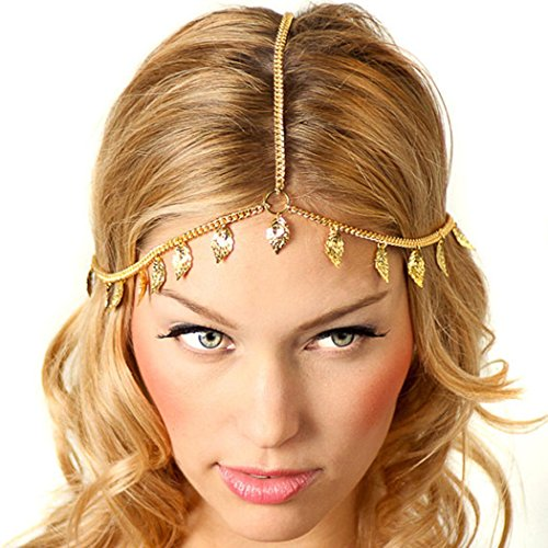 LittleB gold leaves headpiece for Casual hair chain for Women and Girls.