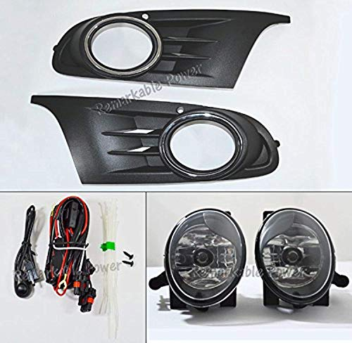 RP Remarkable Power, FL7113 Fit For 2010 2011 2012 2013 2014 MK6 Golf/TDI Jetta Sportwagen Chrome Black Bezel Fog Light Kit