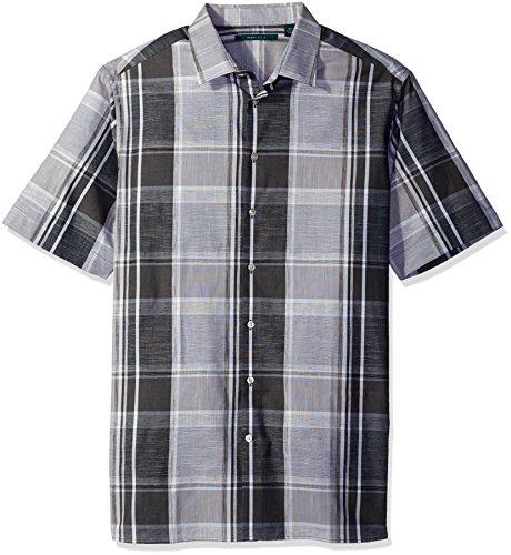 Chambray Plaid Shirt (Perry Ellis Men's Chambray Plaid Shirt, Black, 2X-Large/Tall)