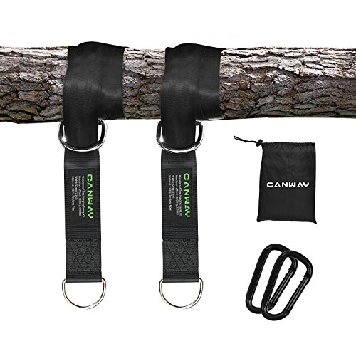 Canway Set of 2 Tree Swing Straps Hanging Kit Holds Max 2200 LB with Two Heavy Duty Carabiners (Stainless Steel) - Camping Hammock Accessories(10ft) by Canway