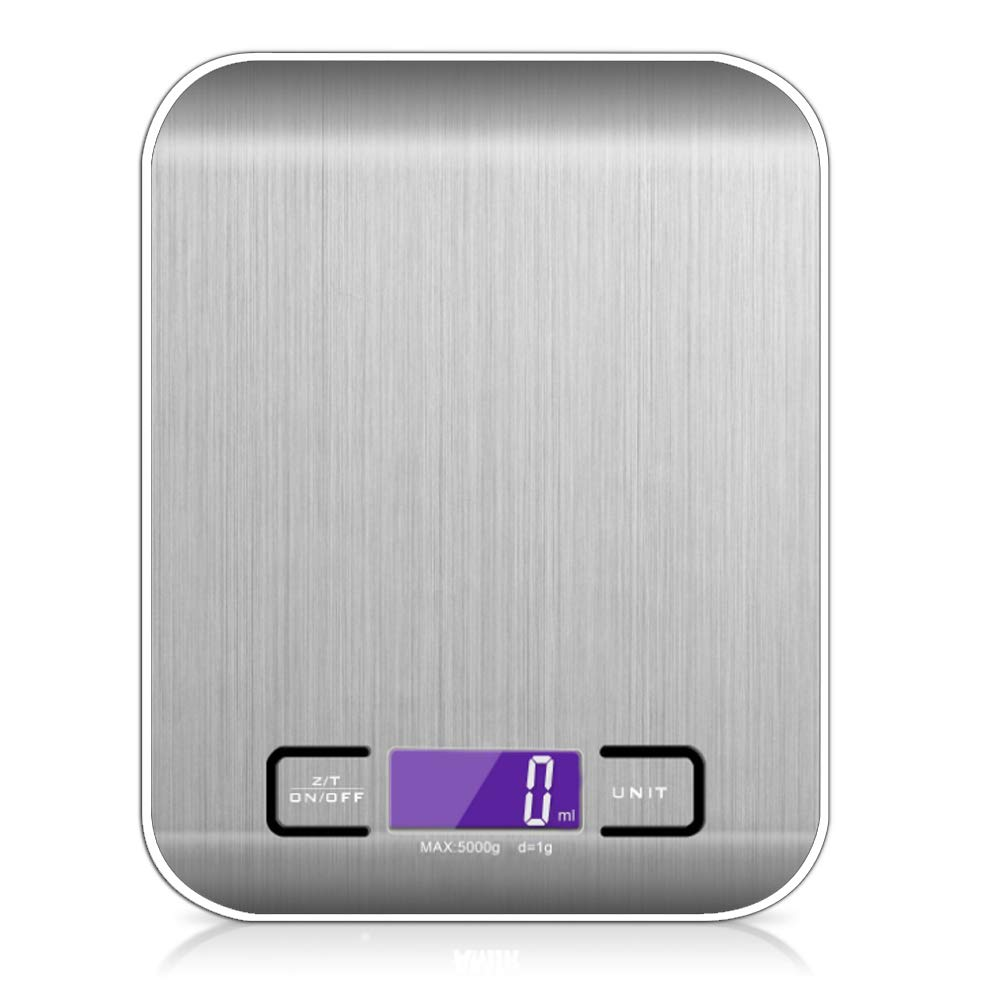 Digital Kitchen Scale Silver Stainless Steel Food Scale Gram Ounce Switch 11 lb max Small Accurate Measurement Digital Display