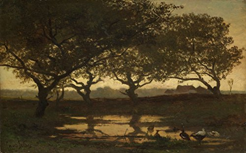 Classic Art Poster - Woodland Pond at Sunset, Gerard Bilders, c. 1862 11