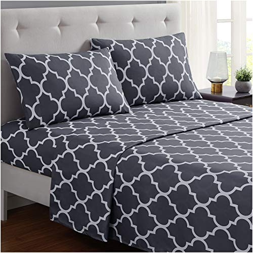 Mellanni Bed Sheet Set Queen-Gray - Brushed Microfiber Printed Bedding - Deep Pocket, Wrinkle, Fade, Stain Resistant - 4 Piece (Queen, Quatrefoil Silver - Gray)